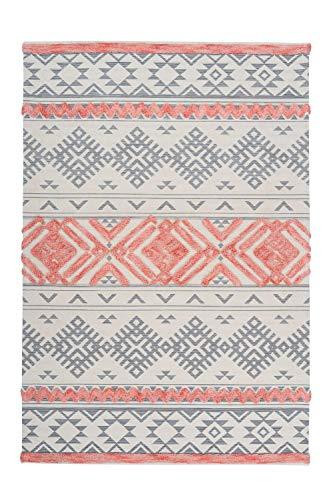 One Couture Azteken Teppich 3D Wollteppich Aztec Design Modern Apricot Creme Grau Rosa Pink Wohnzimmerteppich Esszimmerteppich Teppichläufer Flur-Läufer, Größe:120cm x 170cm