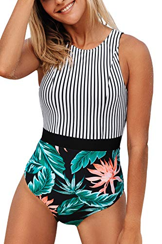 CUPSHE Women's One Piece Swimsuit Striped Floral Print Bathing Suit, S