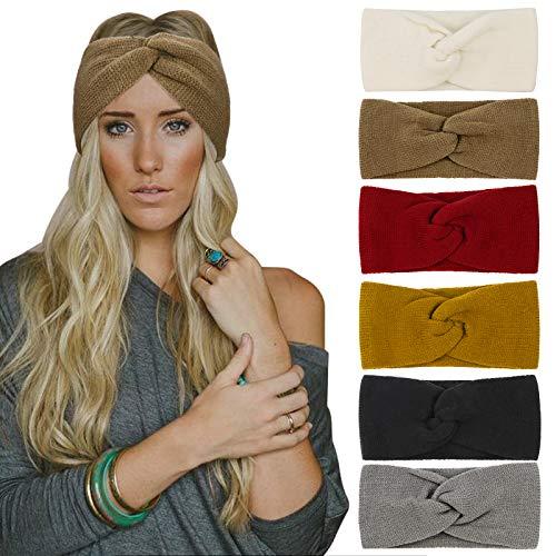 DRESHOW 6 Stück Stirnband Damen Winter Häkeln Stirnbänder Gestrickt Stirnband Kopfband Haarband Elastische Haarreife Ohr Wärmer