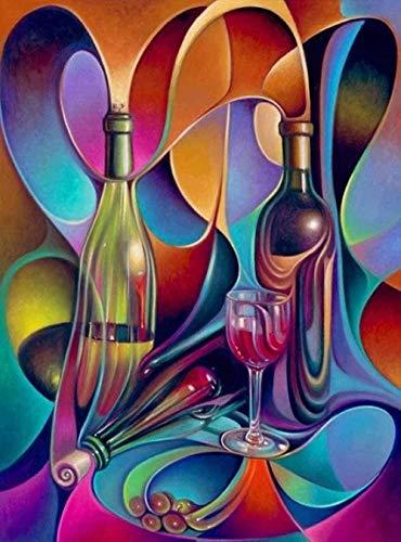 Punto de cruz preimpreso color estático copa de vino kit preimpreso patrón de bordado 11ct 40 * 50cm bricolaje (lienzo preimpreso)