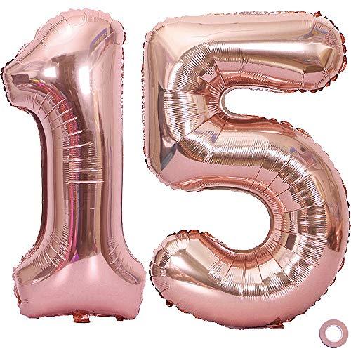 Juland Luftballon Zahl 15. Geburtstag XXL Riesen Folienballon Zahl Rosegold Geburtstag Folienballon Helium Folie Pinke Luftballons für Geburtstag Jubiläum 40 Zoll - Riesenzahlen #15