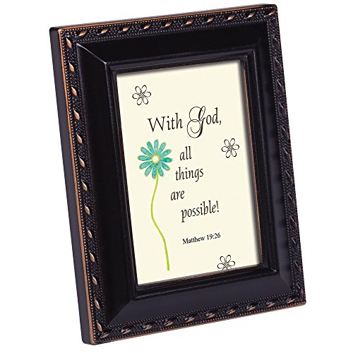 Cottage Garden with God All Things Distressed Black Inspirational 2 x 3 Tiny Frame with Easel and Magnet