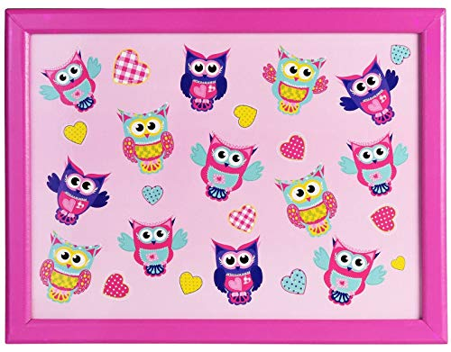True Face Wooden Frame Laptray Beanbag Cushioned Padded Food Serving Dinner Breakfast Tray Owl Pink One Size