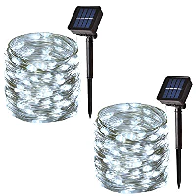 Solar String Lights Outdoor, 100-LED Solar Fairy Lights Waterproof Copper Wire String with 8-Modes, Decorative Lights for Party, Garden, Patio, Yard, Christmas (40ft, 2-Pack) (White)