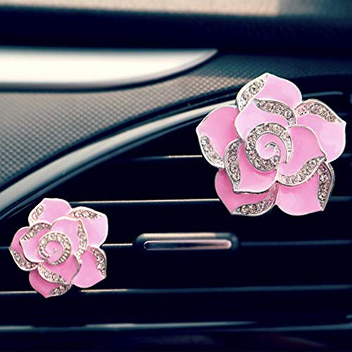 Hete-supply 2 Pcs Air Freshener Clip Car Perfume Camellia Flowers Automobile Tuyere Clamp Air Conditioner Vent Clamp Vehicle Decoration Best Gift for Driver
