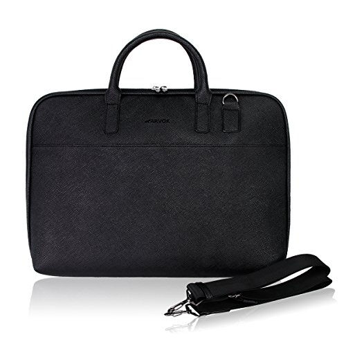 Arvok 13-14 Inch PU Leather Laptop Bag with Handle & Shoulder Strap Water-resistant Notebook Computer Case/Ultrabook Tablet Briefcase Carrying Sleeve for Macbook/Acer/Asus/Dell/Lenovo/HP (Black)