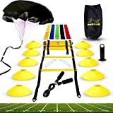 Big B Pro Sports Speed Agility Training Set - Includes Ladder, 10 Cones with Holder, Running Parachute, Jump...