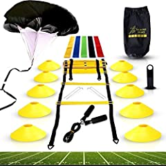 🏆 CHAMPION QUALITY - Built to get you through your rigorous workouts, our speed agility equipment kit uses high quality materials to create a premium set that can help you get the most of your training needs. Get the most out of our enhanced training...