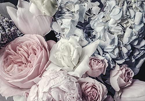 Fototapete Schlafzimmer Blumen Pfingstrose Romantisch Rosen Wohnzimmer Wandtapete Vlies Tapete Latexdruck UV-Beständig Geruchsfrei Hohe Auflösung Montagefertig (12746, V8 (368x254 cm) 4 Bahnen)