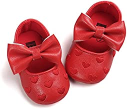 RVROVIC Baby Girls Shoes Soft Sole Mary Jane Flats Princess Dresses Shoes PU Cute Bow Crib Shoes Prewalker (0-6 Months Infant, Heart-Red)