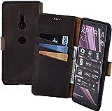 Suncase Book-Style kompatibel für Sony Xperia XZ3 Hülle (Slim-Fit) Leder Tasche Handytasche Schutzhülle Hülle (mit Standfunktion & Kartenfach - Bruchfester Innenschale) in antik braun