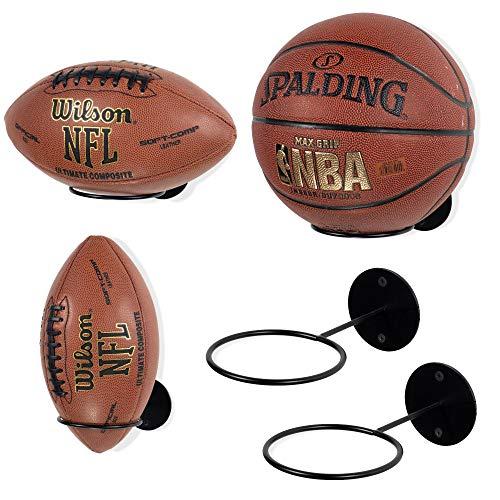 Wallniture Palla Ball Organizer und Ablage für Fußball & Basketbälle Metall Rack 5er Set schwarz