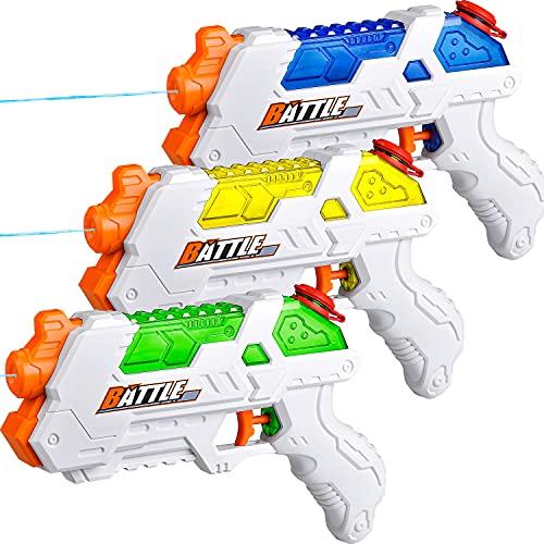 JOYIN 3 Pack de pistola de agua de pistola de chorro de agua, 3 pistolas de agua de color para niños, pistolas de agua y juguete de chorro, juguete de lucha contra el agua, juguete para piscina, playa, arena al aire libre