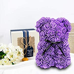 youbet rose bear-rose flower bear gifts for mother's day–10inch rose teddy bear girlfriend gifts,gifts for women-clear gift box and gift card included-perfect for anniversary's,bridal showers,weddings silk flower arrangements