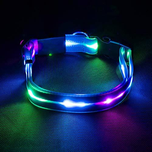 Collar para perro mediano con luces LED intermitentes, para perros grandes, ajustable, brillante, suave, de litio, visibilidad nocturna y seguridad, recargable, 44-65 cm, azul
