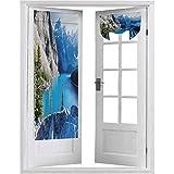Cortinas francesas para puerta, Moraine Lake Banff National Park Canadá, montañas, pinos, valle de los diez picos, 2 paneles: 66 x 172 cm, cortinas de ventana para dormitorio, color azul, verde y gris