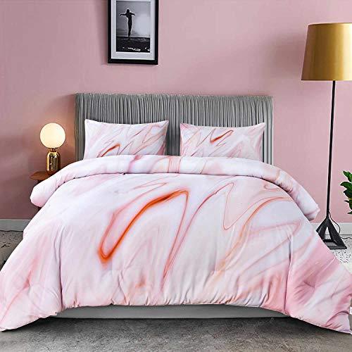 NANKO Comforter Set Queen Size, Pink Marble Print 88 x 90 inch 3pc Reversible Down Alternative Microfiber Duvet Sets (1 Comforter + 2 Pillow) Best Modern Bedding for Women Men Teen, Art