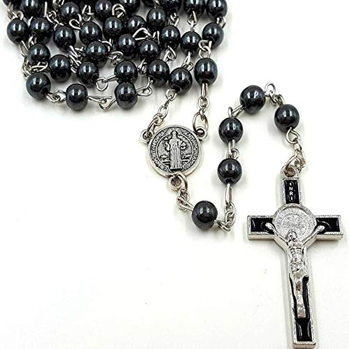 Black Rosary 6mm Bead Chain with Jesus, Cross Coin Pendant Religious Necklace Christ Jewelry