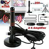 ARB Market 1080P HD 200 Mile Range TV Antennas For Digital TV Range Indoor Great Connection, Great Tool Black And Red, Antenna TV Digital HD Skywire Antena Digital Indoor