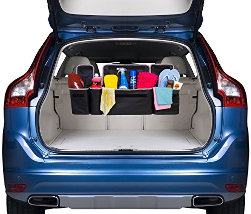 Kodiak 2 in 1 Trunk and Backseat Organizer by Space Saving, High Capacity Auto Back Seat and Trunk Storage - Heavy Duty Design, Fits Any Car or SUV Using 3 Fully Adjustable Straps