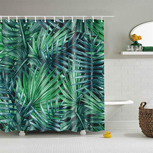 geen merk badkamer gordijn benzine plant groen blad tropische boom palmblad banaan kruid zwart en groen badkamer decoratie accessoires douchegordijn met haken