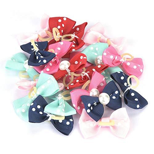 20Pcs/Pack Cute New Dog Hair Bows, Mix Colors Cute Puppy Dog Small Bowknot Hair Bows with Rubber Bands Handmade Hair Accessories Pet Grooming Products