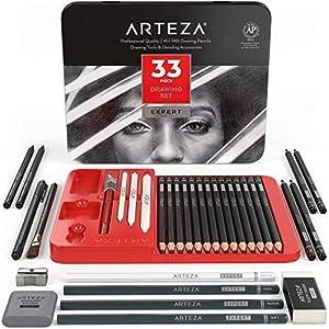 Arteza Lápices de dibujo profesional, estuche de 20 lápices de grafito y 4 de carbón, 1 delineador, 3 mezcladores, 1…