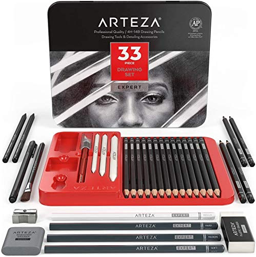 Arteza Drawing Set for Adults, Set of 33 Artist Sketching Tools, Includes 20 Graphite & 4 Charcoal Sketch Pencils, 1 Fineliner, 3 Blenders, 1 Sharpener, 3 Erasers & 1 Hobby Knife