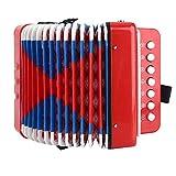 SONK Acordeón para niños 7 Teclas de Control Dos Botones de Graves Mini acordeón pequeño 7.5 x 7.1 x 4.3 Pulgadas para Manos jóvenes de niños, Juguete Educativo de Instrumentos Musicales(Rojo)