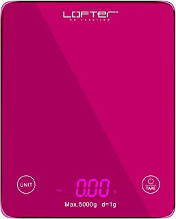 Digital Kitchen Scale, LOFTER Multifunction Food Scale with LED Display for Baking Cooking, 11lb/5KG Capacity, Ultra Slim, Easy to Clean, Tempered Glass Surface Touch Screen, Battery Included, Pink