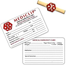 MediClip 1001 Medical ID Clip for Bracelet Watch Purse & 2 Cards