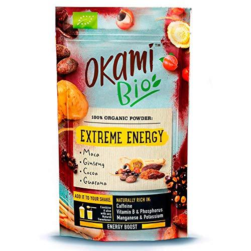 "Okami Bio\""Extreme Energy\"" Superfood Powder Mix 200 gr | Mezcla Vegana Orgánica de Maca, Cacao, Guaraná y Jengibre | Te da el mismo impulso que una bebida energética, pero 100{17643f6c93c73f10d78d6280af80702f1c8acd78673052c2b393974e9a66fe96} natural."