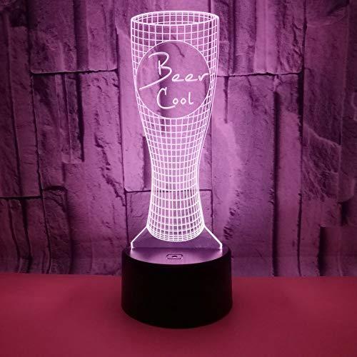 3D Lampada Optical Illusion Boccale di birra LED Lampada Tavolo da tavolo a 7 colori con interruttore tattile remoto con cavo USB Comodino Lamp per il Regalo Bambini compleanno