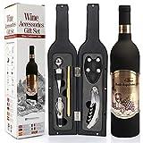 Yobansa Accesorios de Vino en Forma de Botella de Vino Juego de Regalo, Juego de abridor de Vino - Incluye sacacorchos, Tapones de Vino, vertedor de Vino y Anillo de Vino (Bottle 03)