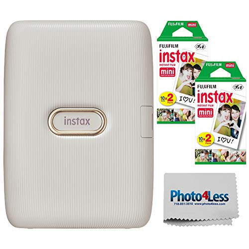 Fujifilm Instax Mini Link Smartphone Printer (Beige Gold) + Fuji Instax Mini Film (40 Sheets) - Instax Mini Link Printer Bundle