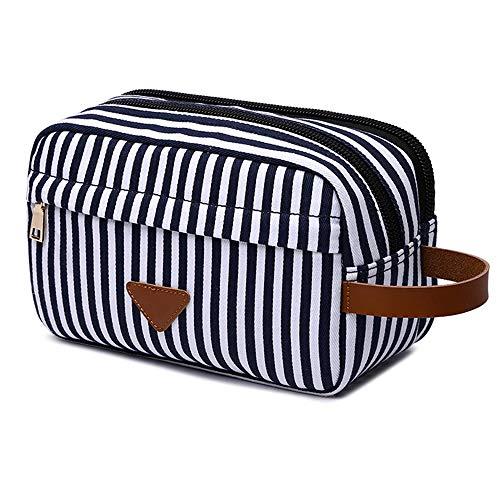 Reise Kulturbeutel, Tragbare Reise Kosmetiktasche Schminktasche Clutch Übernachtwäsche Rasierzeug Beutel Handtasche für Frauen (Blaue Streifen)