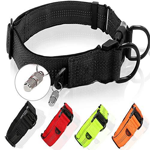 Collar para perros de nailon, collar de perro grande, acolchado de neopreno suave y nailon, ajustable y reflectante, color negro