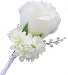 WeddingBobDIY Boutonniere Buttonholes Groom Groomsman Best Man Rose Wedding Flowers Accessories Prom Suit Decoration Ivory