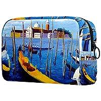 コスメティックバッグトラベルトイレタリー 毎日のポータブルジッパークロージャーメイクアップバッグ,油絵ヴェネツィアイタリア