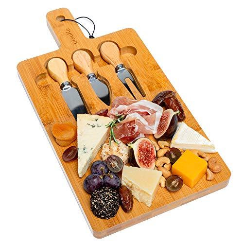 Tagliere per Formaggi in Legno di Bambù - Tagliere in Bambù con Coltelli per Formaggi - Tagliere da Cucina Multifunzione o da Portare in Tavola - Set per Formaggio o per tagliare gli alimenti -BlauKe