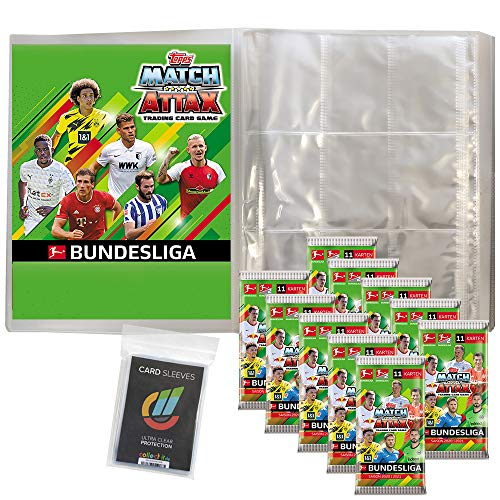 Topps Match Attax 2020/21 - 1 Leere Sammelmappe + 10 Booster + 40 Collect-it Hüllen Sleeves