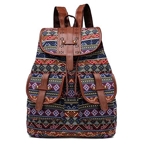 Neaer Backpack Vintage Print Canvas Ethnic Backpack for Women Girls School Backpacks Drawstring Bohemia Travel Rucksack school bag (Color : 4)