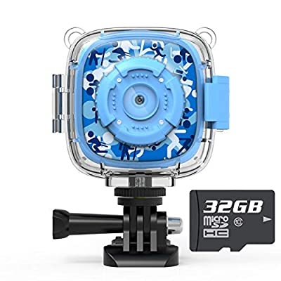AKAMATE Kids Action Camera Waterproof Video Digital Children Cam 1080P HD Sports Camera Camcorder for Boys Girls, Build-in 4Games, 32GB SD Card (Pink) from