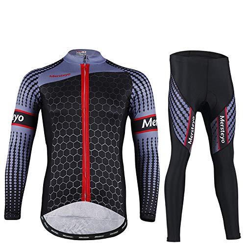 CptBtptPyy Culotte Bicicleta con 5D Gel Pad,Ropa de Ciclismo de Manga Larga de otoño/Invierno para Hombres, Ropa de Ciclismo Larga de Bolsillo, Camiseta de Ciclista de montaña, Cuesta Abajo-Negro_L