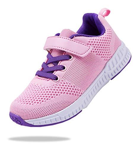 Tênis de corrida esportivo unissex, respirável, leve, para meninos e meninas da Santiro (criança pequena/criança grande), Pink-1, 1 Little Kid