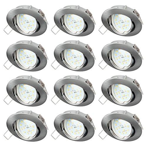 SEBSON Einbaustrahler 12er Pack rund schwenkbar inkl. LED Modul Lampe 5W RA95 warmweiß - Unterputz Decken Einbau Rahmen Alu Lochdurchmesser 75mm