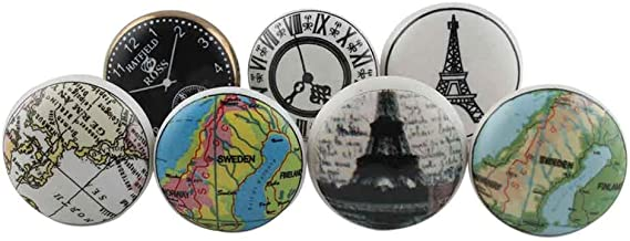 Indian-Shelf Assorted Handmade Worlds Map and Clock Drawer Kids Knobs Dresser Cabinet Pulls Combo Mix Assorted Knobs(Multicolor/1.5 Inches)-Pack of 4