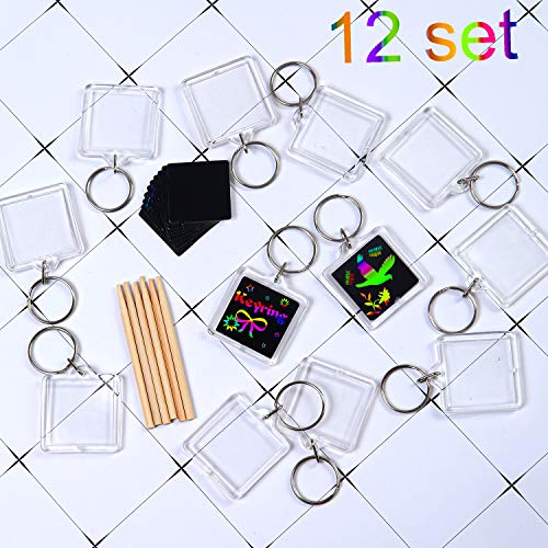 Elcoho 12 Pack Scratch Art Key Ring Magic Scratch Rainbow Key Chain for Party Bag Fillers and Craft Supplies (style 1)