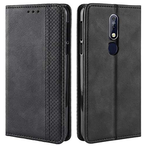 HualuBro Handyhülle für Nokia 7.1 Hülle, Retro Leder Brieftasche Tasche Schutzhülle Handytasche LederHülle Flip Hülle Cover für Nokia 7.1 - Schwarz