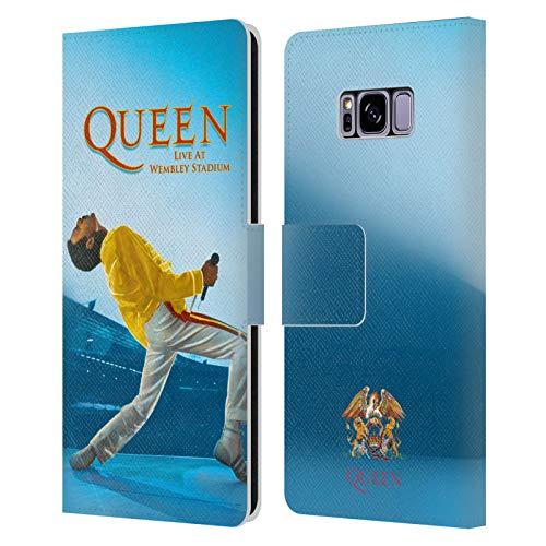 Head Hülle Designs Offizielle Queen Freddie Mercury Live at Wembley Kunst Leder Brieftaschen Handyhülle Hülle Huelle kompatibel mit Samsung Galaxy S8
